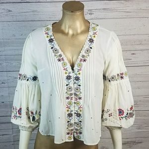 Vanessa Virginia Floral Embroidered Peasant Top